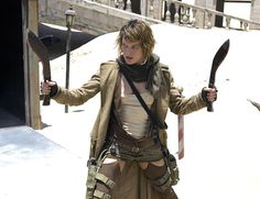 Milla Jovovich In Resident Evil: Extinction Wielding Two Badass Knives