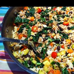One skillet Mexican flavored meal in a snap: Saut ground turkey, red onion, chopped garlic, chopped peppers, zucchini, carrots on olive oil. Add ground cumin, smoked paprika, coriander, cinnamon, chili powder, dried oregano, salt and black pepper. Stir in chopped tomatoes, frozen corn and rinsed can of black beans. Add chopped kale, fresh salsa and cooked brown rice. Heat through and serve with cilantro, salsa, sour cream and sliced avocados per your taste. Healthy tasty meal done in 15 m