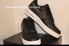 032a4ac59bc Nike af1 black gems rhinestones men women shoes sneakers swarovski airforce  1 wedding graduation swag performance stage groom bridal jordans