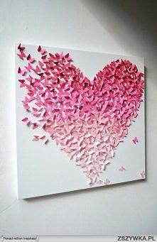 butterfly heart diy wall art- this would take forever and a day, but so cute!