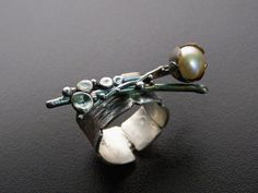 Argentium Sterling OOAK Ring Flower Bud with Pearl by RocknDesigns