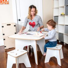 • Rounded Corners & Edges • Made from Recycled Pre-Consumer Fiber • Washable Melamine Surface • Tension Lock Tool-less Technology • Simple 5 Minute Assembly • Space Saving Disassembly for Storage • Build with Your Kids • Great for Art, Projects, and Play • Made in the USA  The Sprout Modern Kids Table and Stools are perfect for drawing, play, or art and craft projects. They are made just the right size so you won't have to worry about potential falls, securing a booster seat, or helping y...
