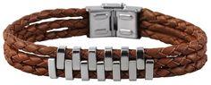 Unisex Echtleder Armband, braun, mit Edelstahlelement in Uhren & Schmuck, Herrenschmuck, Armbänder | eBay