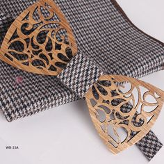 Hollow Cutting Chinese Style Mens Wooden Bow Ties With Wool Pocket Squares WB-15A