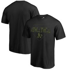 Oakland Athletics Fanatics Branded Big & Tall Memorial Camo T-Shirt - Black