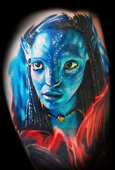 Neytiri from sci-fi movie Avatar, perfect realistic tattoo work by Tomasz Tofi Torfinski James Cameron, Movie Tattoos, Cool Tattoos, Science Fiction, Avatar Tattoo, World Tattoo, Realism Tattoo, Tattoos Gallery, Skin Art