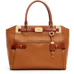 Michael Kors Blake Large Pebbled Leather Satchel Bag ($1,195) ❤ liked on Polyvore