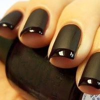 An AWESOME all black French Manicure. Artfully done in matte with high gloss tips.
