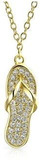 Bling Jewelry Cz Flip Flop Pendant Gold Plated Necklace 16 Inches.