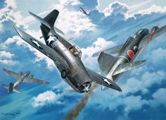 Number 20 for Joe, by Roy Grinnell (Grumman F4F Wildcat vs Mitsubishi G4M 'Betty')