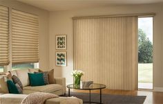 """Instead of the """"same old"""" vertical blinds, this 2-inch pleated cellular shade can be made for a sliding glass door. Living room and vertical can now match!"""