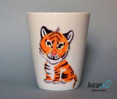 "Taza mug ""tigre"" pintada a mano Aniramnoc"