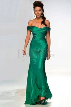 Gorgeous Green Off-the-shoulder Sheath Prom Dress