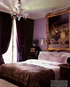 Bedroom Bliss: lilac walls, eggplant drapes, and a gilt-framed lion and lioness. Photographer: Roger Davies for Elle Decor, October 2008.