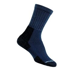 #Thorlos Women's Thick Padded Hiking #Socks, Crew, Slate Blue, Medium (Womens's Shoe Size 7.0-9.0) Made by #Thorlo Color #Slate Blue. 86% Acrylic, 10% stretch nylon, 4% spandex. Midweight padding in heel and ball protects the foot from shear and impact forces. Specifically designed with extra stretch yarn added to conform more precisely to the ankle area.. Custom toe area design; smaller heel pocket for added comfort and improved fit for a woman's smaller heel