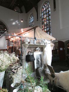 Brocante fair in the church of Edam