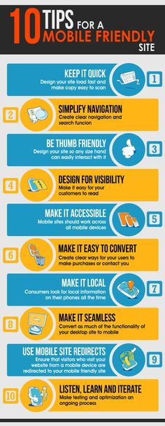10 Tips for a mobile friendly site - keep it quick, etc.