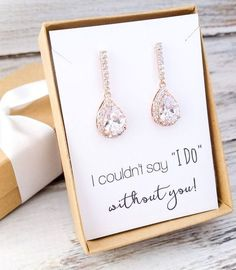 Elegant cubic zirconia rose gold drop earrings for bridesmaids. Also available in gold and silver in our shop. All orders come beautifully gift boxed with ribbon. Bridesmaids And Groomsmen, Wedding Bridesmaids, Wedding Tips, Bridesmaid Gifts, Diy Wedding, Wedding Favors, Wedding Planning, Dream Wedding, Wedding Invitations