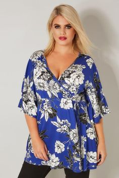 00b0e02b6f1cd Plus Size Blouses   Shirts Cobalt Blue Floral Wrap Top