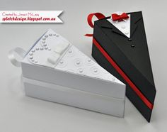 Learn how to make these wedding cake boxes. The completed box measurements are approximately 2 ½ wide x 5 long x 2 ½ high.  This listing is for digital files only, not for the finished boxes or any products. Please read all information under item details and shop polices before you make your purchase. After you complete the payment you should automatically receive an email with a link to download your file/s. However you can also go to your purchase page in etsy (under your account), then…