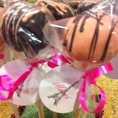 Cake pops I made for a black and pink French themed baby shower
