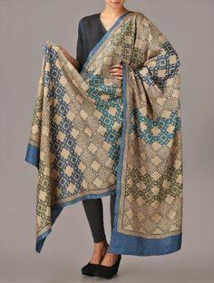 Beige-Blue Tussar Silk Dupatta