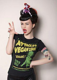 Vegan Zombie pin up Rockabilly Baby, Rockabilly Style, Rockabilly Fashion, Rockabilly Clothing, Psychobilly, Gothic Fashion, Look Fashion, Retro Fashion, Vintage Fashion