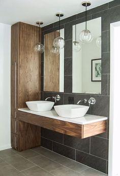A modern two-sink bathroom by Lindsay Hoekstra.
