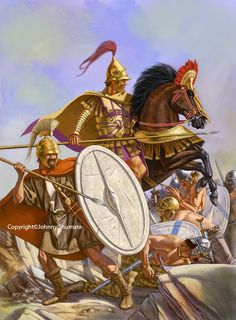 Hellenistic infantry and heavy cavalry battle Gauls. The cavalry of the Hellenistic states were by far the most superior heavy cavalry of the period. Greek History, Ancient History, Ancient Rome, Ancient Greece, War Elephant, Greek Warrior, Celtic Warriors, Classical Antiquity, Alexander The Great