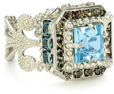 "Sorrelli ""Salt Water"" Crystal Antique Silver-Tone Adjustable Ring: Jewelry: Amazon.com"