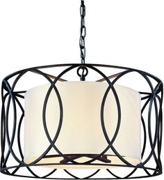Amazon.com: Five-Light Wrought Iron Chandelier with Center Drum Shade: Home Improvement