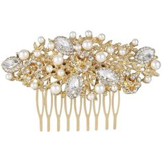 Ever Faith Crystal Ivory Color Simulated Pearl Bride Comb Romantic... ($18) ❤ liked on Polyvore featuring accessories, hair accessories, bridal hair clip, bridal comb, crystal hair clips, bridal hair comb and hair clip accessories