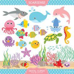 Under the Sea Clipart. Turtle, Clown fish, tropical fish, corals ...