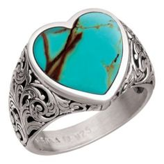 Sterling Silver Filigree Heart Ring - Turquoise