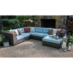 AE Outdoor Dawson 7 Piece Sectional Conversation Set | from hayneedle.com