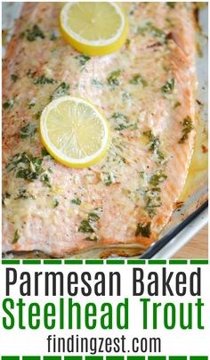 Parmesan Baked Steelhead Trout This baked steelhead trout recipe is an easy dinner option and a great alternative to salmon! Loaded with fresh Parmesan cheese, fresh parsley, lemon and garlic, it is sure to become one of your favorite baked fish recipes! Steelhead Trout Recipe Baked, Baked Trout, Baked Fish, Seafood Dishes, Seafood Recipes, Dinner Recipes, Cooking Recipes, Cheese Recipes, Yummy Recipes