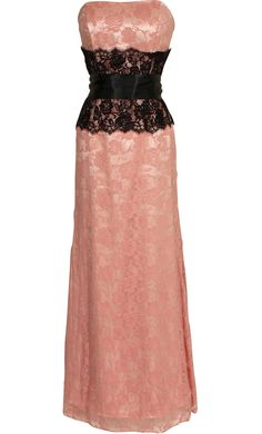 Strapless Lace Prom Dress Long Gown With Contrast Corset Style Waist  My dream Dress. Except I want it in white