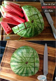 Cut watermelon into watermelon sticks. This tutorial is perfect for little hands! Toddler Tips and Tricks – Hacks for New and Old Moms on Frugal Coupon Living.