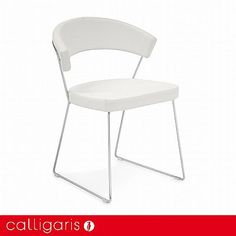 Calligaris New York Leather Dining Chair - Chrome Sled Base
