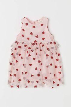 Tulle Dress with Glitter Print - Light pink/hearts - Kids Fashion Design For Kids, Fashion Kids, Toddler Fashion, Toddler Girl Style, Toddler Girl Outfits, Kids Outfits, Toddler Girls, Baby Girls, Baby Tulle Dress