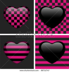 vector - Set of Four Glossy Emo Hearts. Pink and Black Chess and Stripes - stock vector
