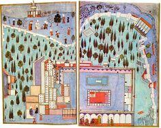 Der Dritte Hof des Topkapi Serail Die Miniatur zeigt den Gebäudekomplex des Topkapi Serail zur Zeit Selims I. (reg. 1512-1520). Von einer Mauer umschlossen sieht man den Dritten Hof (Enderun) mit dem Audienzsaal (Art Odası) in der Mitte und dem Harem links.
