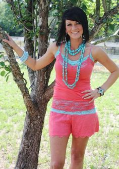 Coral Lace Shorts  Size: Small, Medium, Large  Price: $24.95  http://www.giddyupglamouronline.com/catalog.php?item=5178