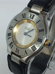 Cartier Must de 21 Swiss 1330 2 Tone Leather Band Ladies Quartz Watch N309 | eBay
