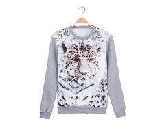 Fashion Scoop Neck Villus Leopard Pattern Long Sleeves Cotton Blend Sweatshirt For Men (AS THE PICTURE,2XL) | Sammydress.com
