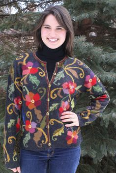 Morning Glory Floral Alpaca Cardigan  Morning Glory - Hand intarsia floral cardigan with hand painted buttons, hand crocheted edges and hand embroidery details.   www.purelyalpaca.com