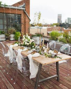 Farm tables and Ghost Chairs!  The perfect rustic modern look!