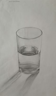 46 Glass Cup Pencil Drawing Ideas - New Hand Pencil Drawing, Pencil Art Drawings, Art Sketches, Anime Comics, Facebook Style, Still Life, Shot Glass, Arts And Crafts, Artsy