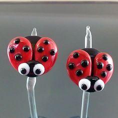 PIKALDA=handmade lampwork 2 glass beads pair earring animal bug=LADYBUG=SRA