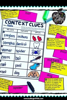 Teach students to use context clues to figure out unknown words with this engaging hands-on resource. This bundle includes 5 days of mini lessons, an anchor chart, task cards, partner games, activities, a vocabulary journal, and a quick assessment. This is a complete hands-on mini unit that will add fun and excitement to your classroom. #HollieGriffithTeaching #KidsActivities